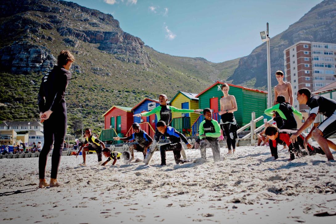 Ejercicios de calentamiento en Sudáfrica.